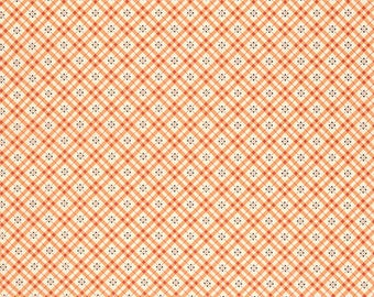 Denyse Schmidt Fabric Yardage, Eastham, Fine Plaid, Bittersweet, Quilting Weight Cotton, DSQuilts, Orange