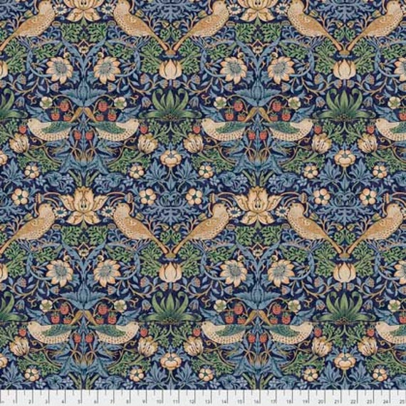 cotton fabric Kelmscott Aqua Strawberry Thief mini by The Original Morris /& Co