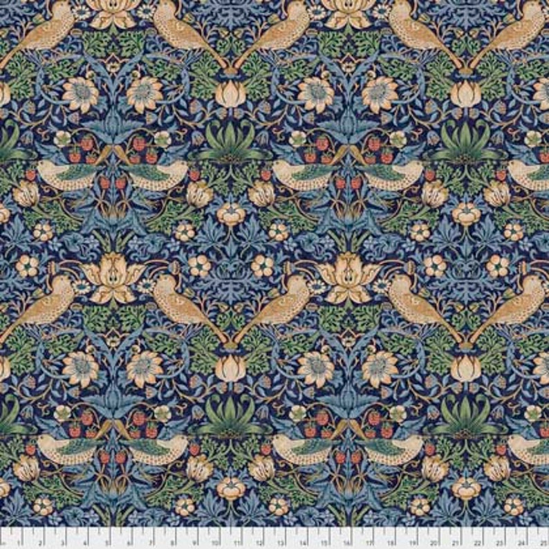 Kelmscott Aqua Strawberry Thief mini by The Original Morris /& Co cotton fabric