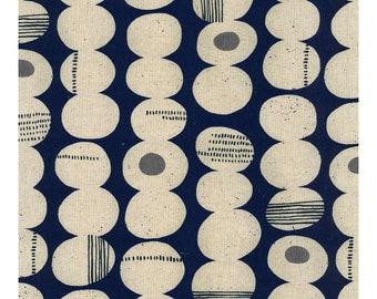 Kokka Cotton Linen Canvas Fabric Celamic Art Stone Navy