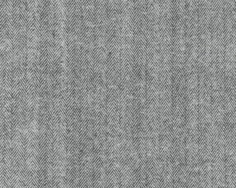 Robert Kaufman Gray Herringbone Shetland Flannel Fabric