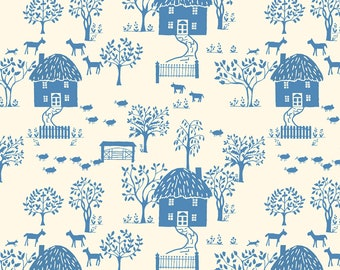 Liberty of London Cottage Garden Quilting Fabric Cottage Lane Blue Houses Lasenby Cotton