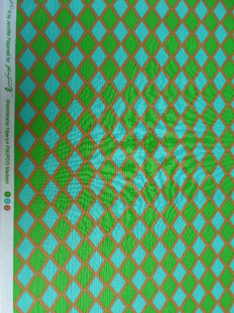 Jennifer Paganelli Fabric Happy Land Madison Diamonds in Green and Turquoise Freespirit