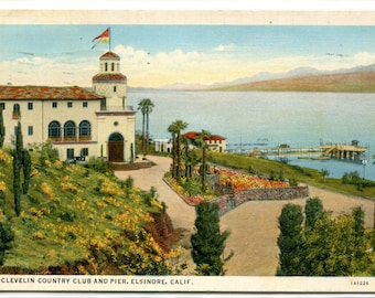 Clevelin Country Club & Pier Elsinore California 1939 postcard