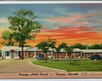 Orange Hotel Court Motel US 41 Tampa Florida linen postcard