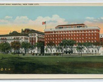 Mount Sinai Hospital New York City NY 1920s postcard