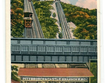 Castle Shannon Railroad Incline Pittsburgh Pennsylvania 1920s postcard