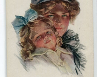 Blue Ribbons Mother Daughter artist signed Philip Boileau 1910s postcard