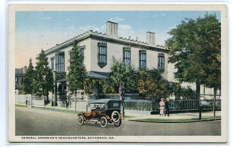General Sherman's Headquarters Savannah Georgia 1920s postcard