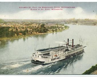Steamer Mississippi River St Paul Minnesota 1910c postcard