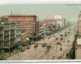 Canal Street Aerial View New Orleans Louisiana 1915 Phostint postcard