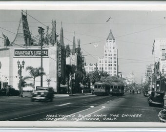 Hollywood Boulevard From Chinese Theater Streetcar California 1940s RPPC postcard