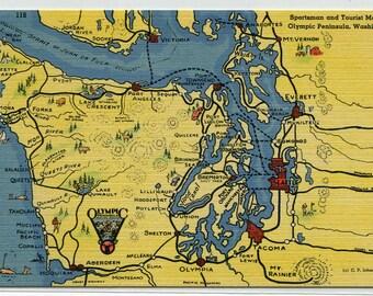 Olympic Peninsula Map Washington linen postcard