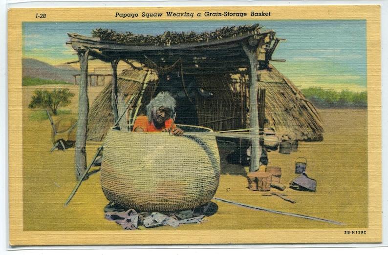 Super Papago Native American Indian Woman Weaving Grain Storage Basket Linen Postcard Beutiful Home Inspiration Ommitmahrainfo