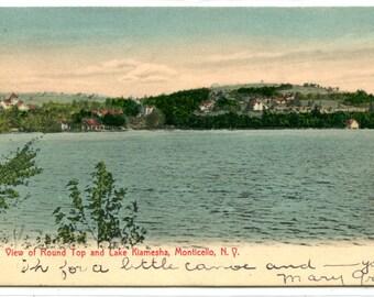 Lake Kiamesha Round Top Monticello New York 1907 postcard
