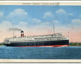 Steamer Steamship Noronic Duluth Minnesota 1940 postcard