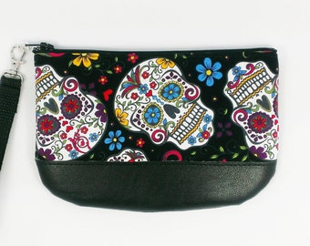 Sugar Skull Wristlet Day of the Dead Purse Dia De Los Muertos women wrist wallet halloween small wristlet bag small purse vegan gift for her
