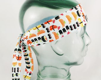 Sushi Head Wrap foodie gift for her hair accessories japanese cute adult headband knot hair accessory chef gift for sushi lover kawaii wide