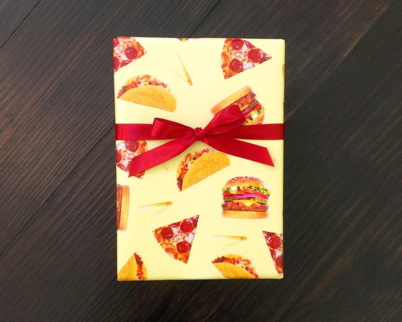 Pizza Wrapping Paper Taco Gift Wrap Burger Birthday