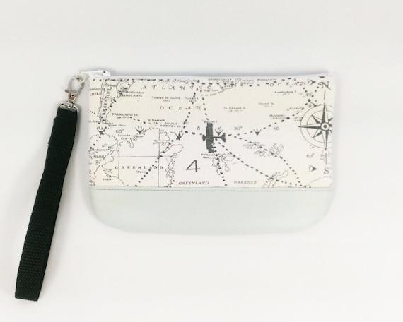 World Map Purse Travel Gift Vegan Wristlet Gray Wristlet Etsy