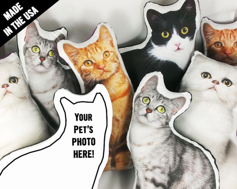 Custom Pet Pillow Custom Cat Pillow best cat lover gifts shape image 1