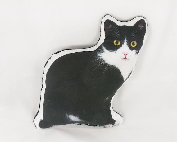 Cat Pillow Plush Cat Gifts For Women Black White Cat Pillow Etsy