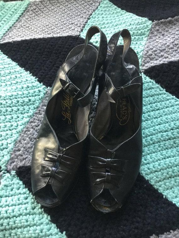 Lovely 1940s Vintage Womens Peep Toe Heels / Pumps