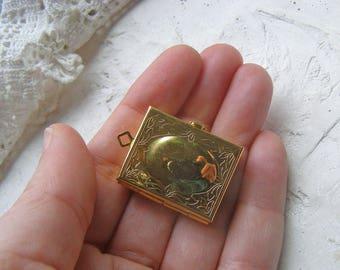 Vintage Brass Picture Locket, Book Locket, Brass Locket, Locket for Chain