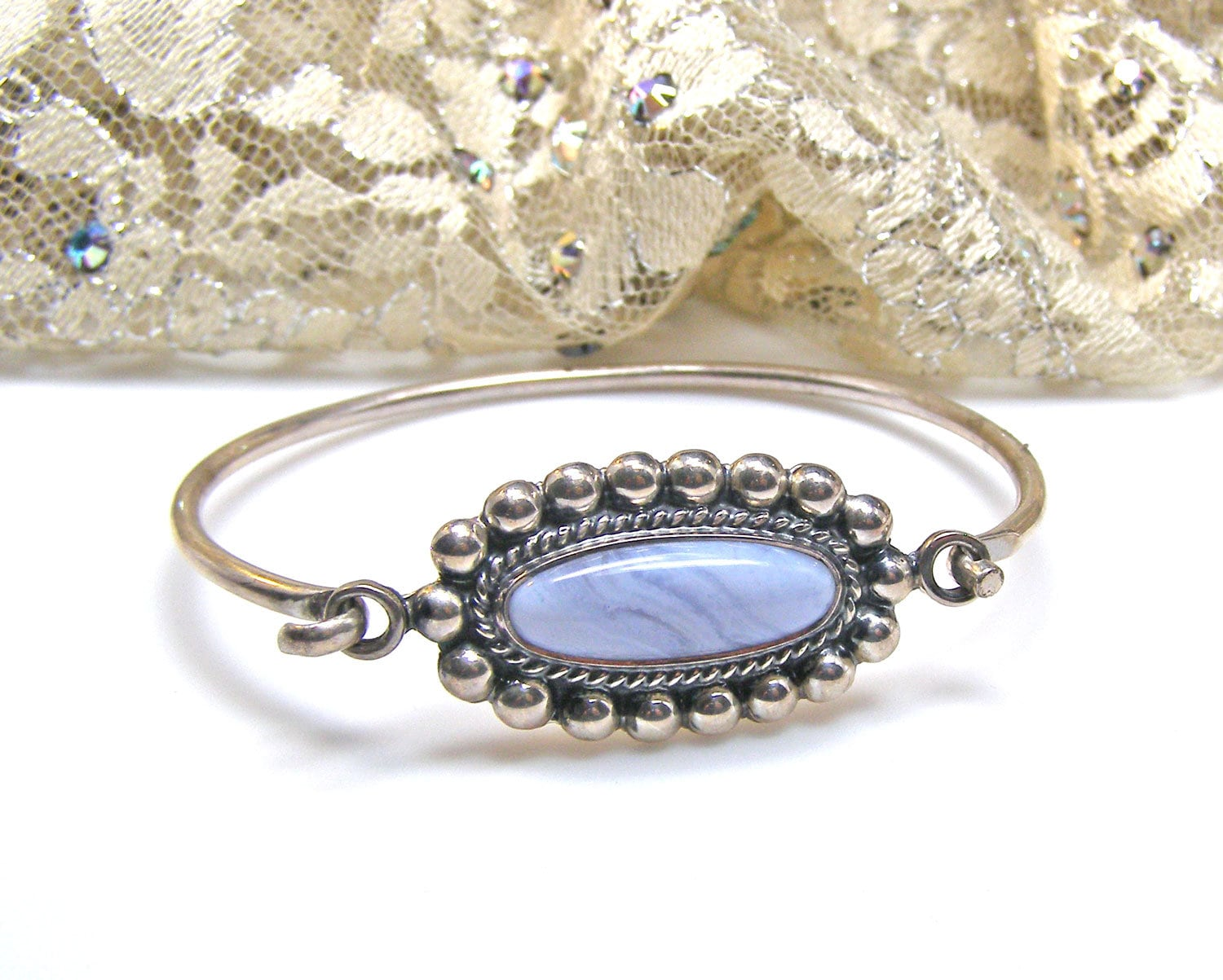 925 STERLING SILVER /& GREEN AGATE  ARTISAN CRAFTED FILIGREE RING SIZE 6