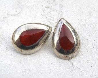 Orange Carnelian Earrings, Vintage Sterling Silver Earrings, Tear Drop Earrings, Pear Shaped Earrings, Artisan Crafted Jewelry