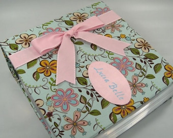 Girl Photo Album Baby Memory Book Pregnancy Journal Baby Girl Book Personalized Baby Scrapbook Blue Pink Flower Floral