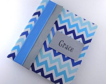 Photo Album Boy Baby memory Book  School Scrapbook Personalized Pregnancy Journal Blue Gray Chevron 4x6 5x7 Picture