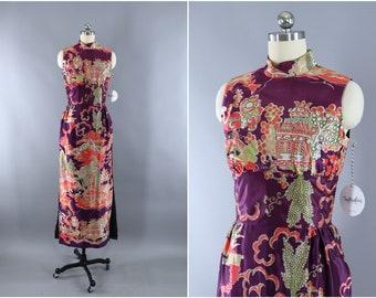 be6058fab91 Vintage 1960s Ao Dai Vietnamese Dress / Purple & Pink Pagoda Novelty Print  / Asian Tunic Dress / Qi Pao Mandarin Style
