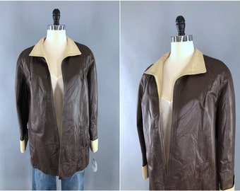 1970s Penny Lane coat jacket leather New England Sportswear Company S M size small to medium dark brown 70s 60s 1960s high quality leather