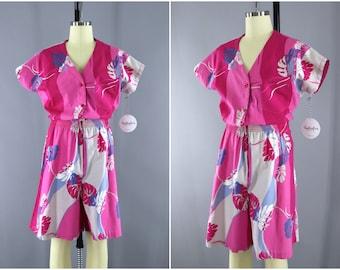 111cafa6856 Vintage 1980s Hawaiian Romper   Pink Floral Print Jumpsuit   Hilo Hattie  Hawaii   80s Playsuit