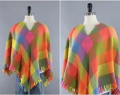 Vintage Knitted Poncho Cape Bright Pink Orange Wool Checked Checkerboard Fringed Jacket Sweater