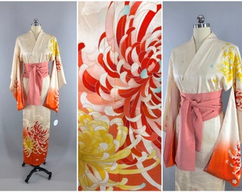 Art Deco Wedding Lingerie Loungewear Vintage Silk Kimono Robe Embroidered Pink Peony Floral Embroidery Furisode with obi belt 1960s