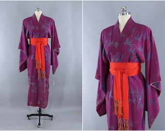 8c035aeef Vintage Silk Kimono, Purple Bluebirds Bamboo Print, Silk Robe Art Deco  Wedding Dressing Gown, Lingerie Loungewear, 1920s 1930s