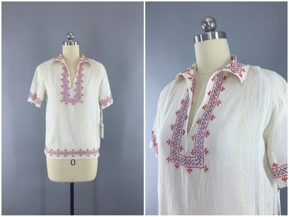 Vintage Peasant Blouse, 1920s Hungarian Embroider… - image 1