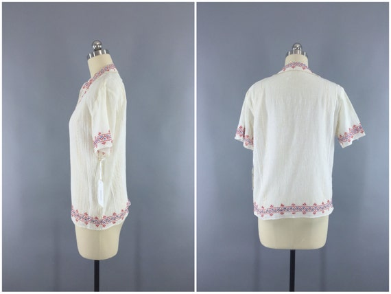 Vintage Peasant Blouse, 1920s Hungarian Embroider… - image 4