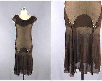 Vintage 1930s Dress / 1920s Flapper Dress / 30s Gown / 20s Art Deco Downton Abbey / XXS