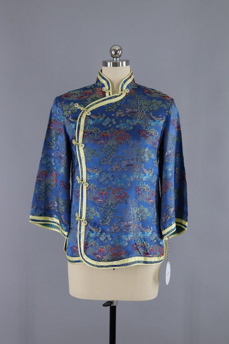 Vintage 1960s Blue Satin Asian Blouse  Mandarin Chinese  Embroidered Brocade