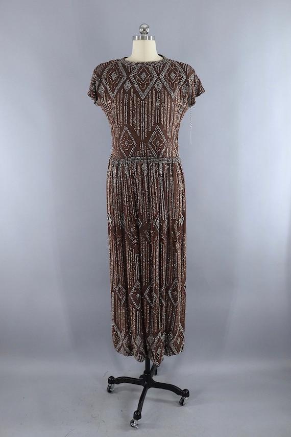 Vintage Formal Dress, Pauline Trigere, Mocha Brow… - image 2