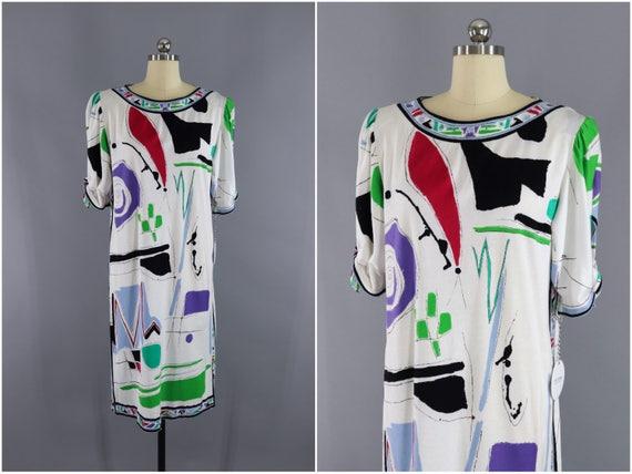Vintage Leonard Paris Designer Dress / 1980s Abstr