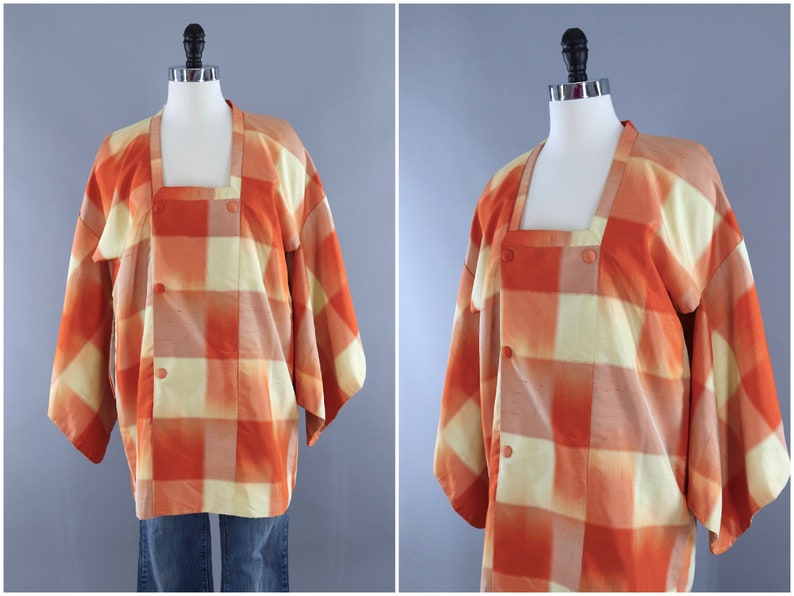 Duster Jacket Vintage Silk Kimono Cardigan Orange and Yellow Plaid, Michiyuki Coat