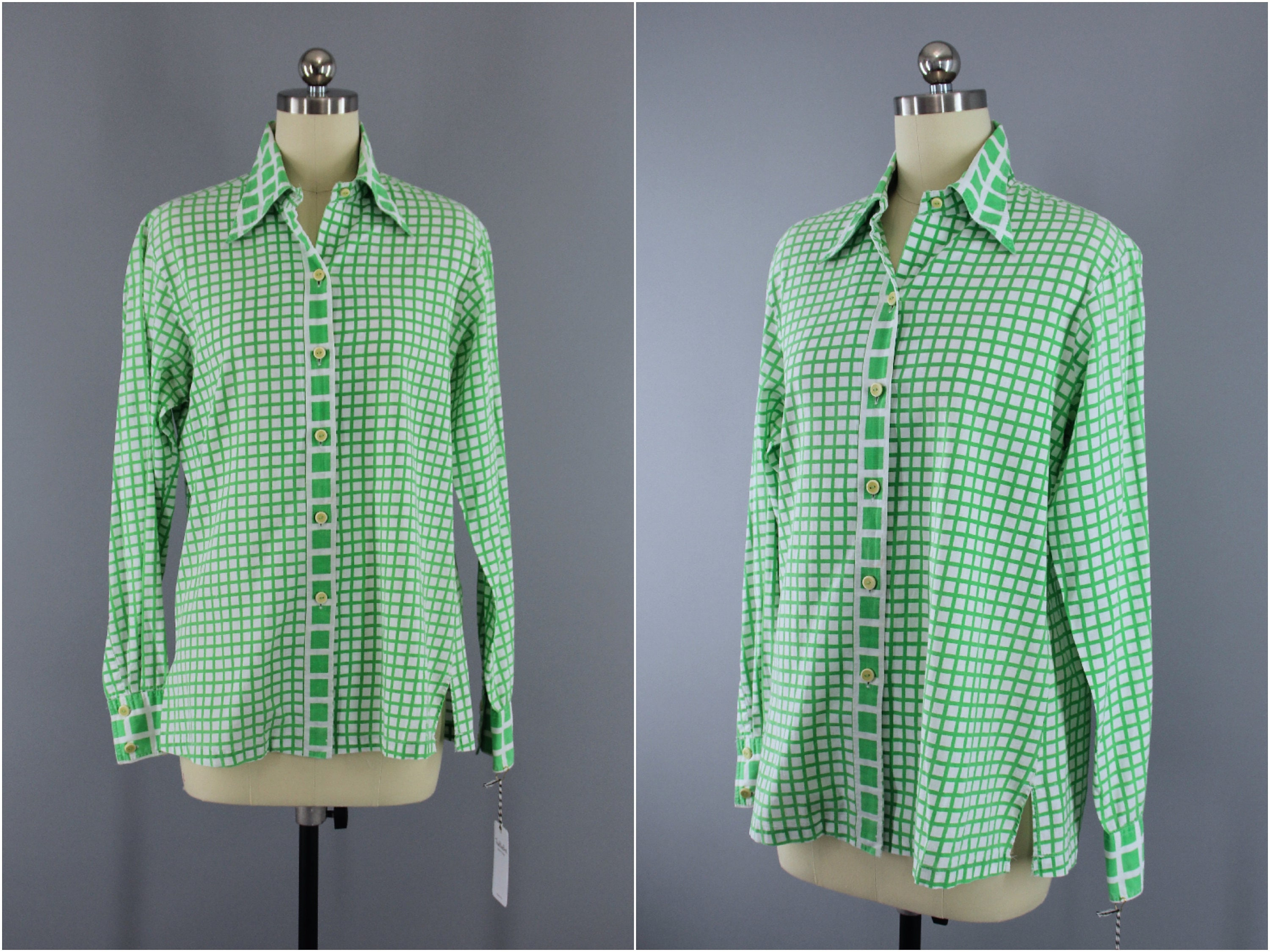 32bfd324f33512 Vintage 1980s CHRISTIAN DIOR Blouse / Green & White Gingham / | Etsy