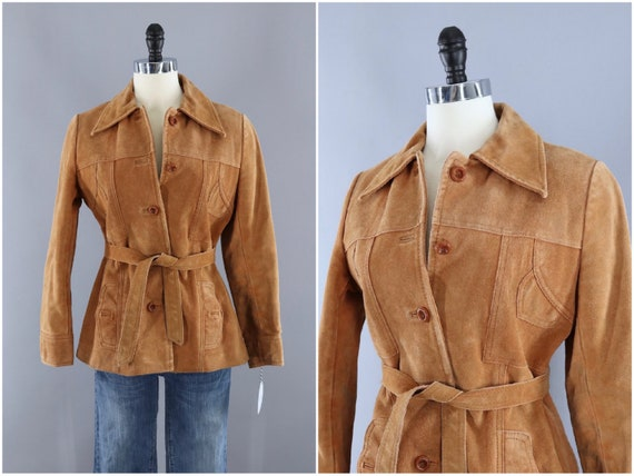 Vintage Suede Jacket, Leather Coat, Tan Camel Cara