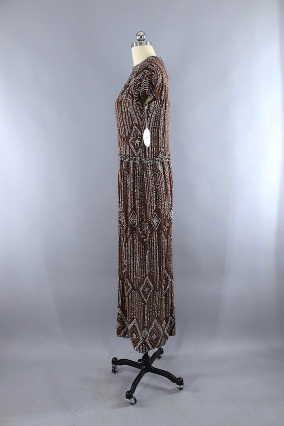 Vintage Formal Dress, Pauline Trigere, Mocha Brow… - image 5