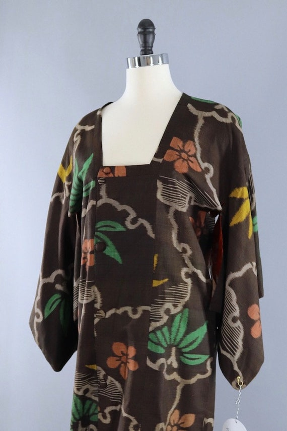 Vintage Silk Kimono Coat, Short Robe, Duster Jack… - image 3
