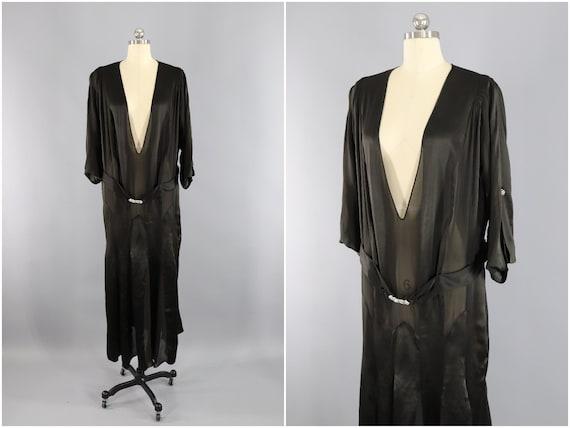Vintage 1920s 1930s Dress / 30s Bias Cut Gown / Bl